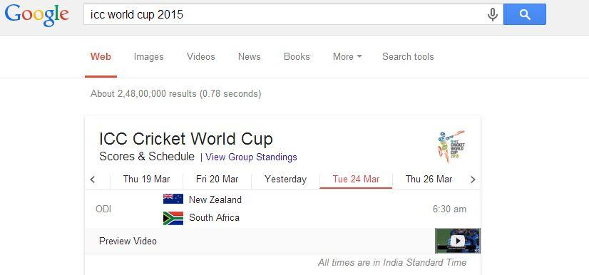 With the help of Google, you can check the Sports scores, results and schedules very easily