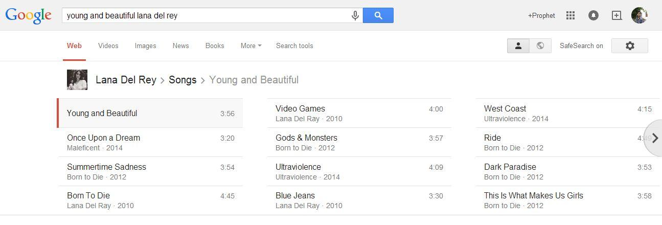 With the help of Google, you can find various songs by the singers or bands you like