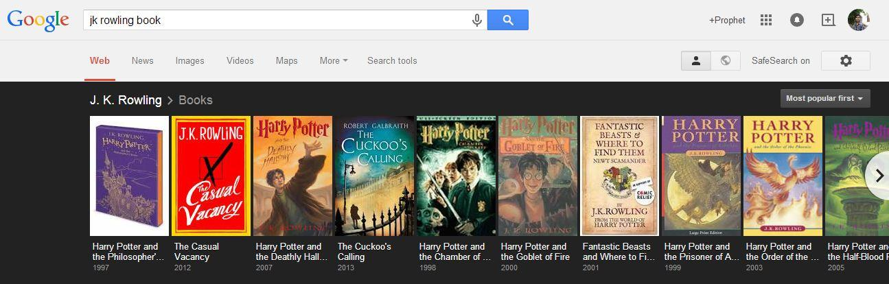 With the help of Google, you can view various books written by the author you like