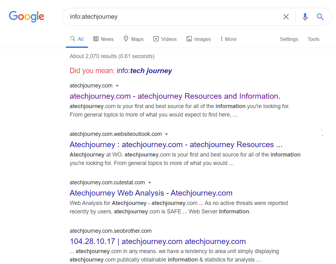 You can easily find out details about a website on Google