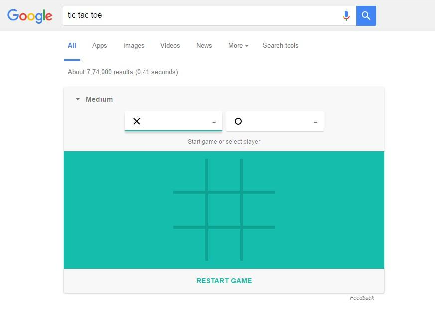 You can even play the game Tic Tac Toe on Google virtually