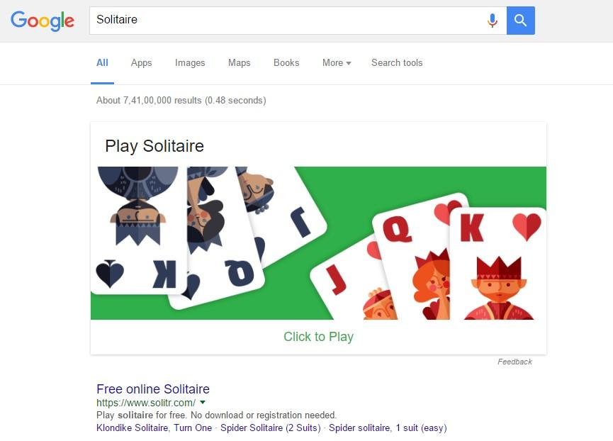 You can play the game Solitaire on Google virtually