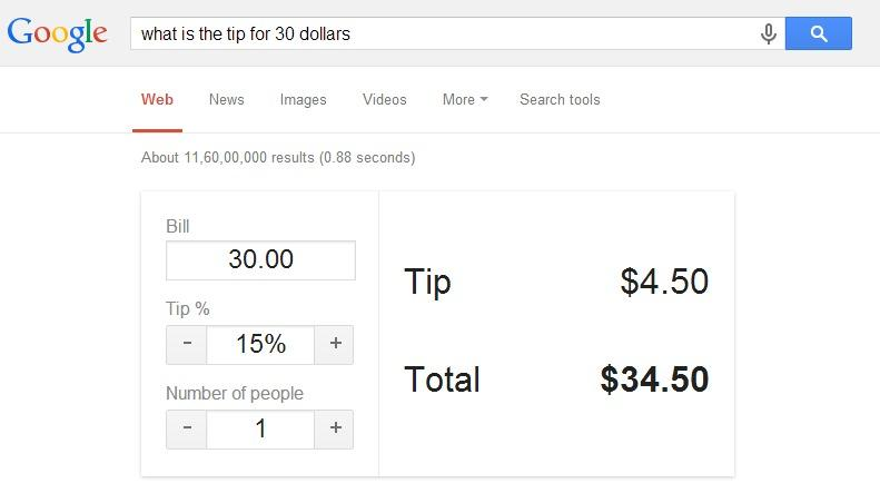 calculate the tip amounts for the meals you have eaten | Best Google Tricks and Tips