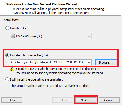 choose the installer image file | How to Install and Run Backtrack on Windows