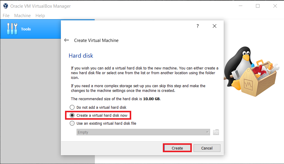 "click on Create a new Hard Disk and then click on the ""Create"" option"