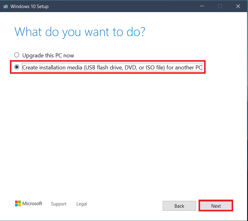 click on Create installation media for another PC.