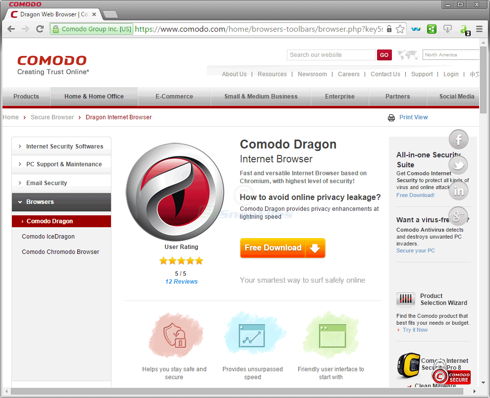 comodo dragon | Best Anonymous Web Browsers For Private Browsing