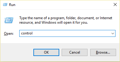 Press Windows Key + R then type control and hit Enter