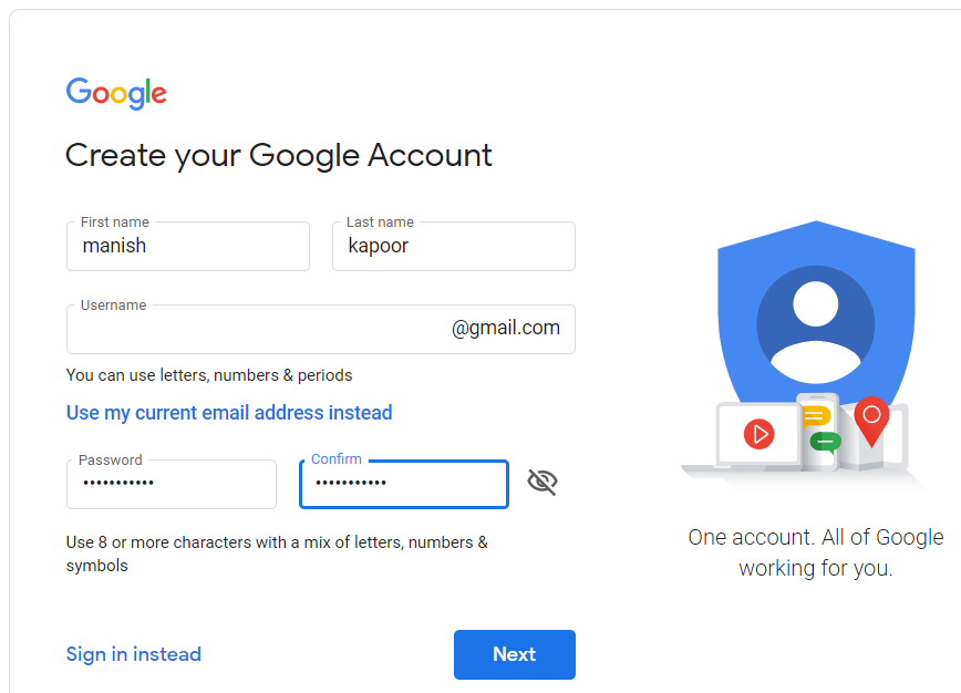 fill all the details which are mentioned in it to create an account. | create Gmail Account without adding your phone number