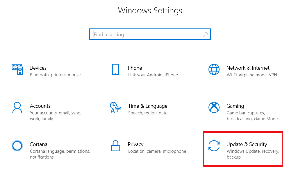 go to settings and click on Update and Security
