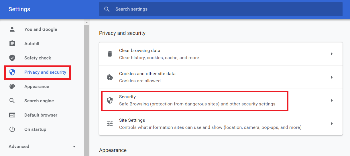 google chrome Settings and Privaccy