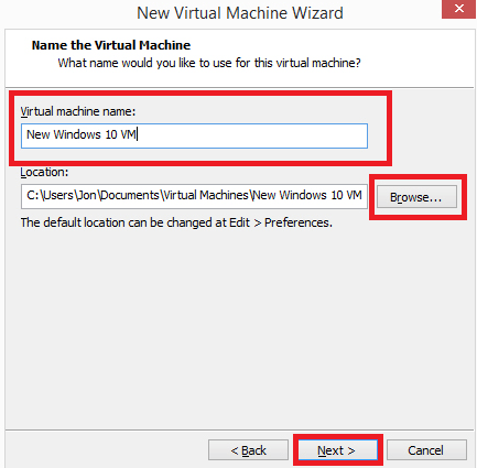 name the Virtual machine and choose the location | How to Install and Run Backtrack on Windows