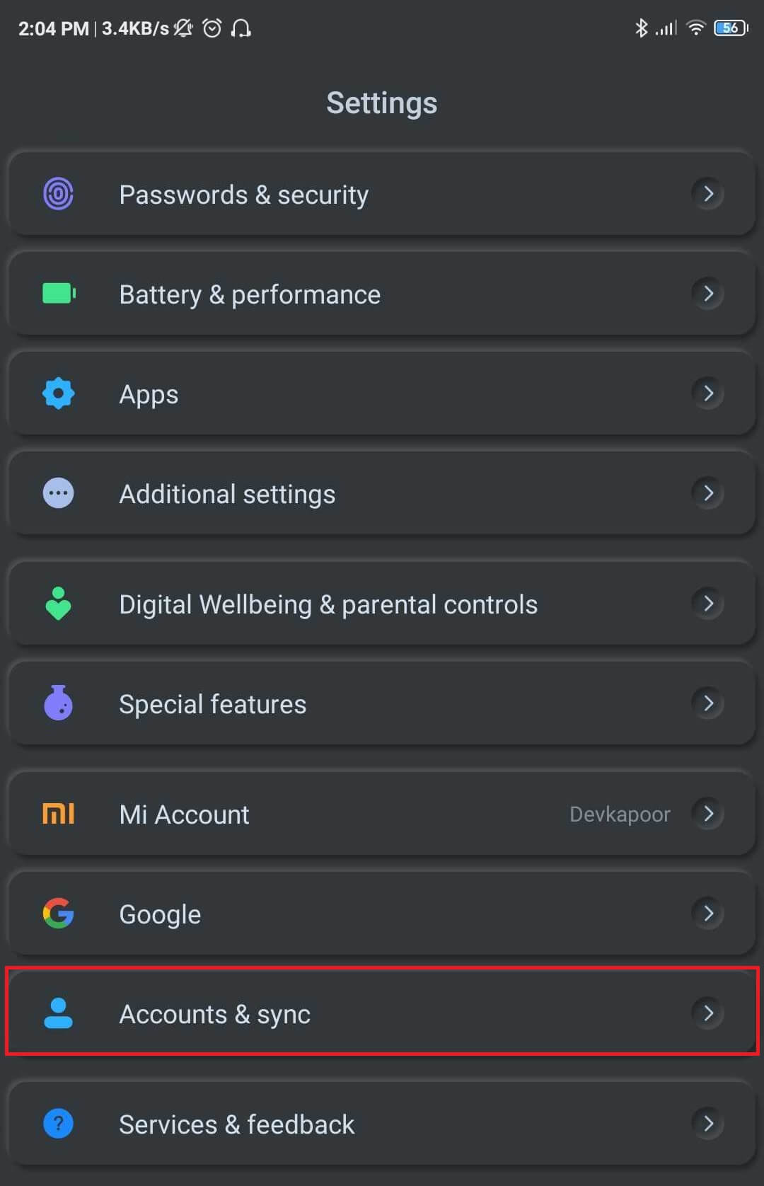 open settings then Tap on Accounts & sync.