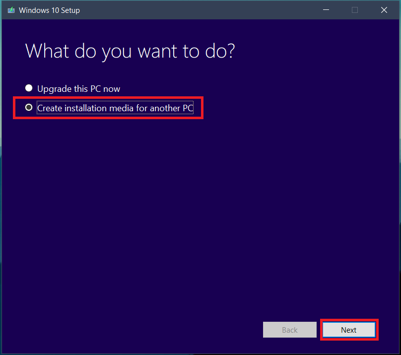 tap on create installation media for another PC | Download Windows 10 for free