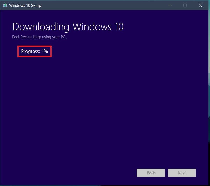 the download process for Windows 10 will be started