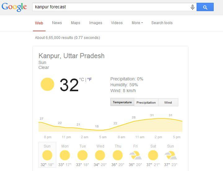 view the weather forecast of any town or even any country! | Best Google Tricks and Tips