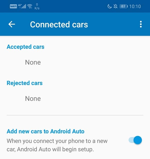 Able to see the name of your car under Accepted cars   Fix Android Auto Crashes and Connection issues