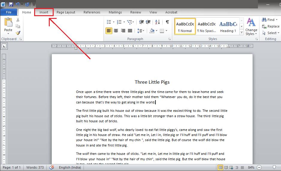 Click on 'Insert' tab in the menu bar