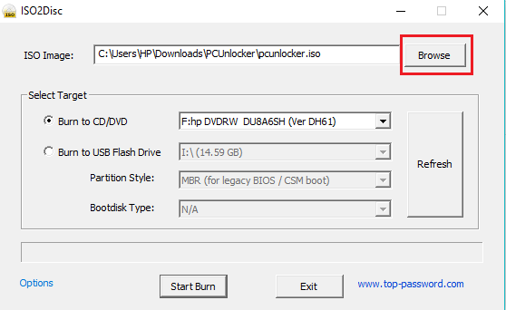 Click on Browse to add the ISO file path