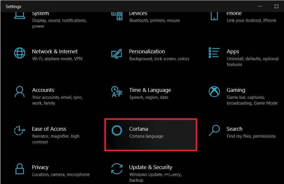 Click on Cortana