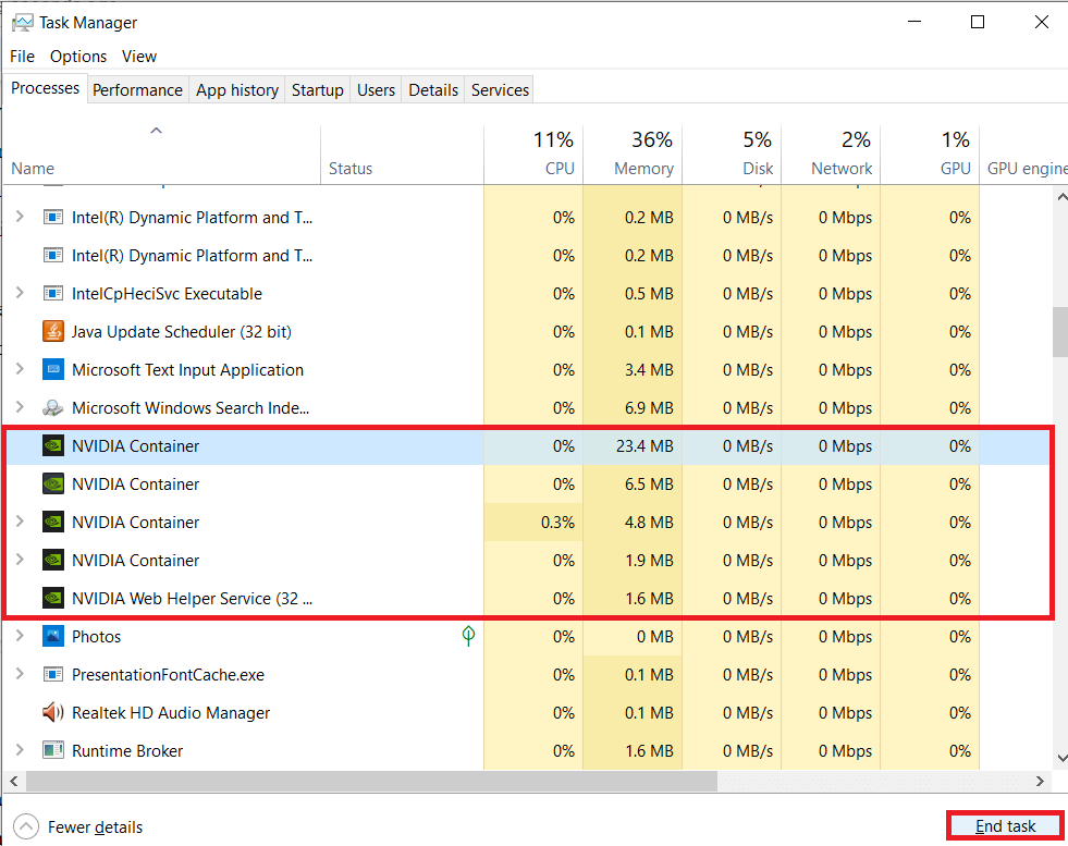 Click on End Task at the bottom of the window