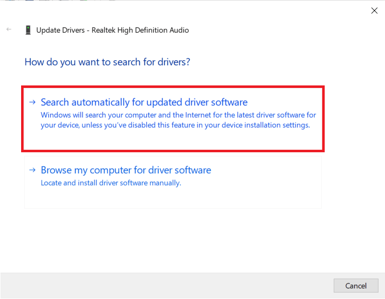 Click on Search automatically for updated driver software