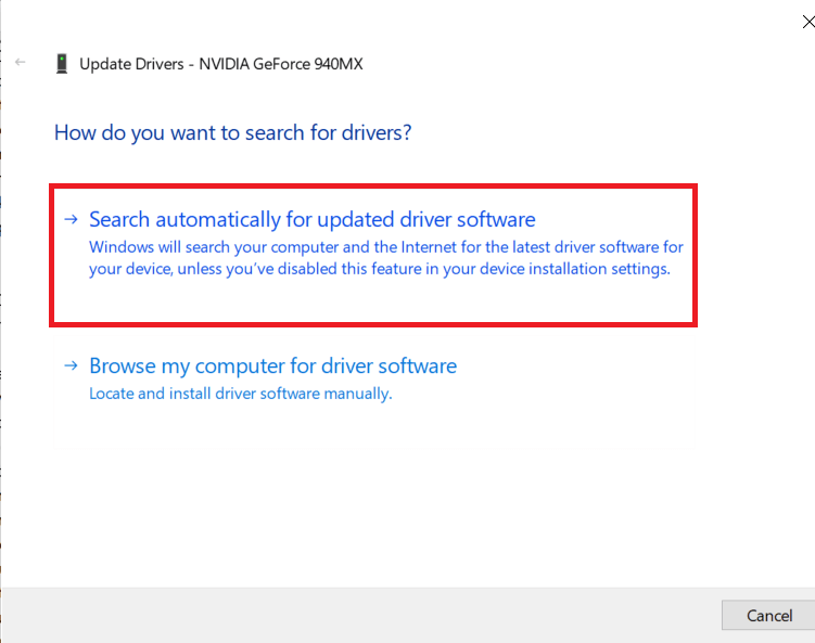 Click on Search automatically for updated driver software | Fix GeForce Experience 0x0003 Error