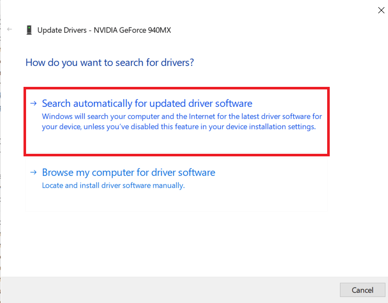 Click on Search automatically for updated driver software| How to Run Fallout 3 on Windows 10