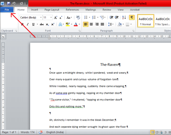 Click on the 'File' menu located in the top-left corner