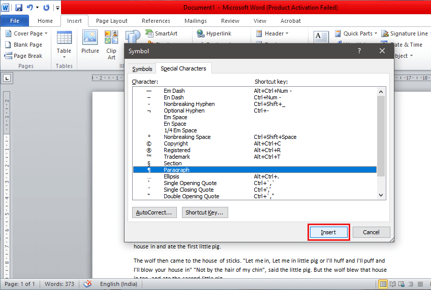 Click on the 'Insert' button located at the bottom   Remove Paragraph Symbol (¶) in Word