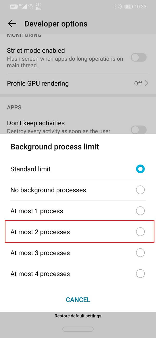 """Click on the """"At most 2 processes option""""   Fix Android Auto Crashes and Connection issues"""