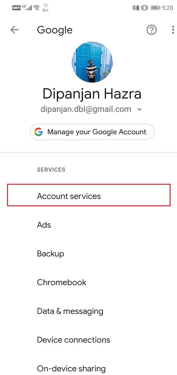 Click on the Account Services