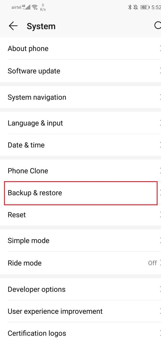 Click on the Backup your data option to save your data on Google Drive