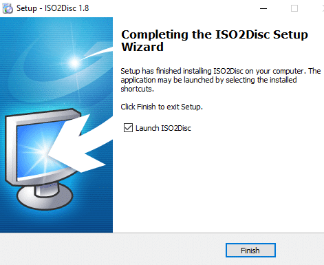 Click on the Finish button to finish the ISO setup