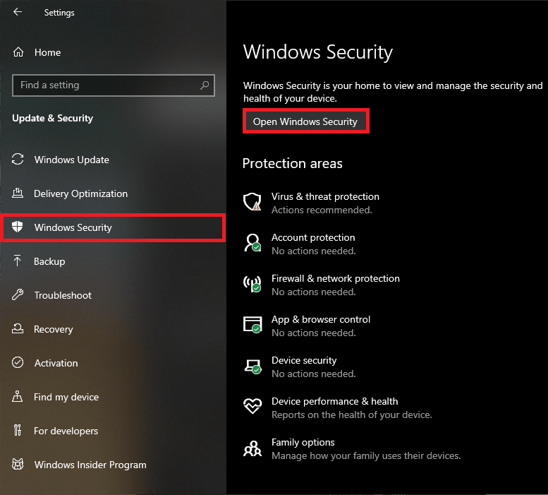Click on the Open Windows Security button