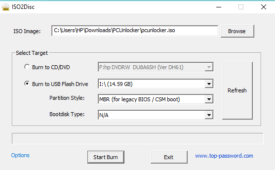 Click on the Start Burn button available at the bottom of the dialog box