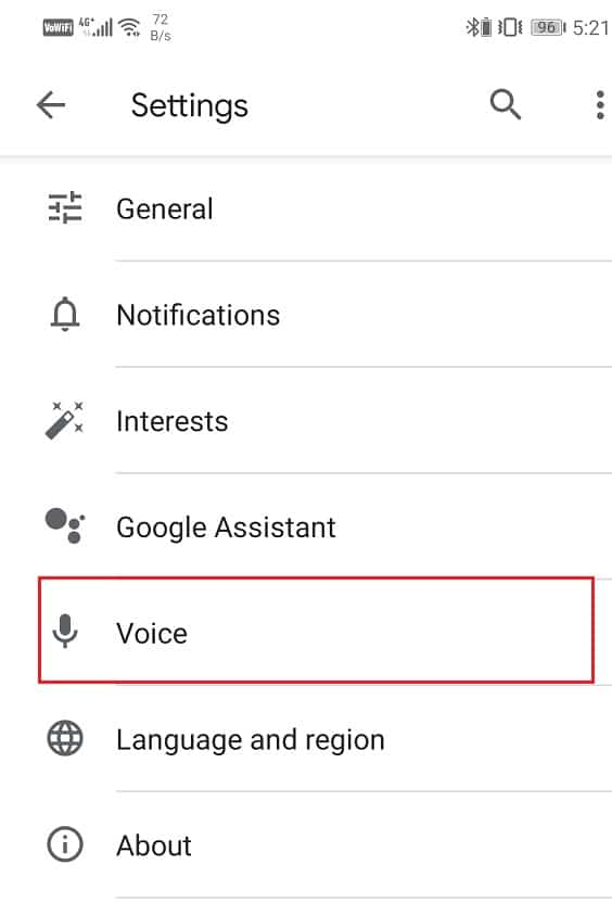 Click on the Voice option