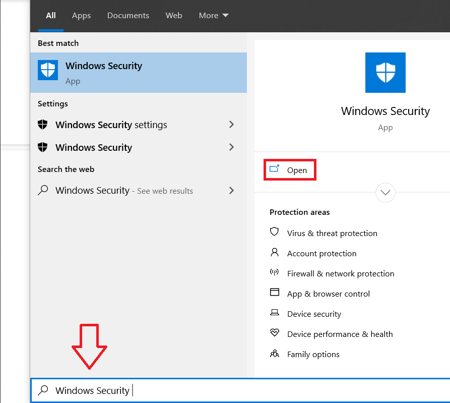 Click on the start button, search for Windows Security and press enter to open