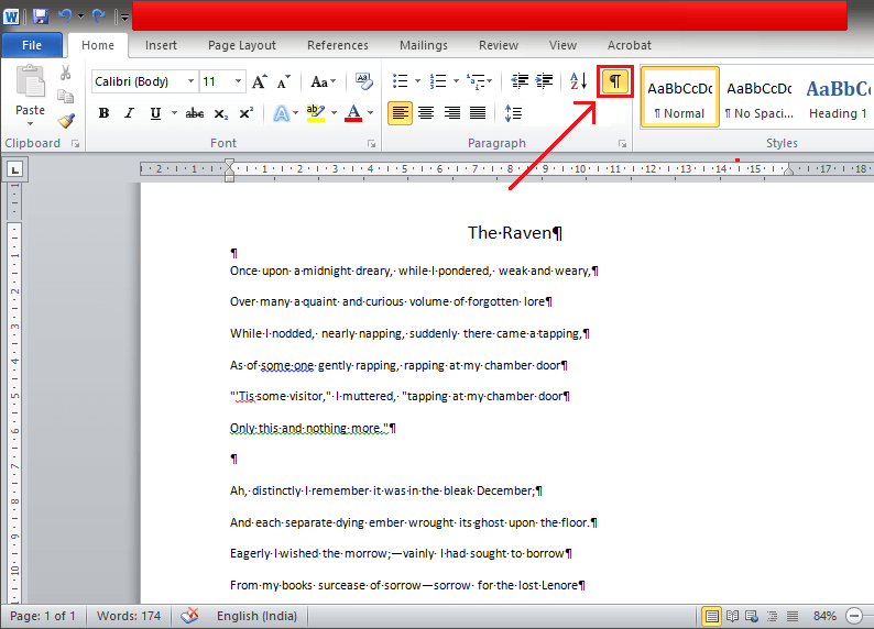 Enable or disable '¶' by using the shortcut key 'Ctrl + Shift + 8'
