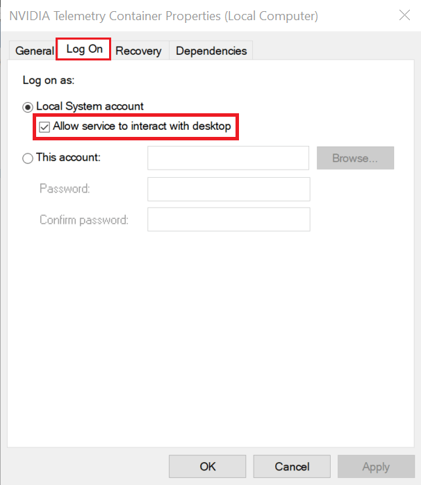 Ensure the box next to Allow service to interact with the desktop under Local System account is ticked/checked