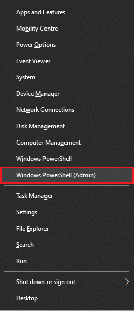 """Find """"Windows PowerShell (Admin)"""" in the menu and select it 