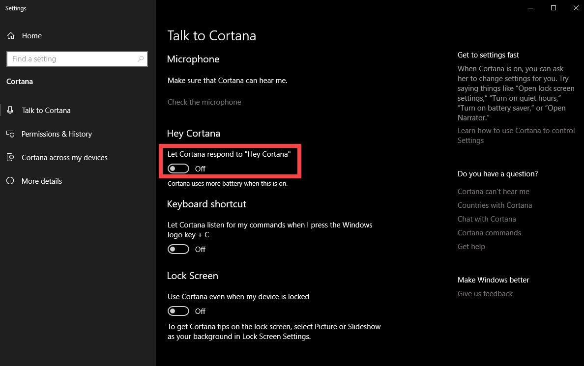 """Find an option labeled """"Let Cortana respond to 'Hey Cortana'"""" and click on the toggle switch"""