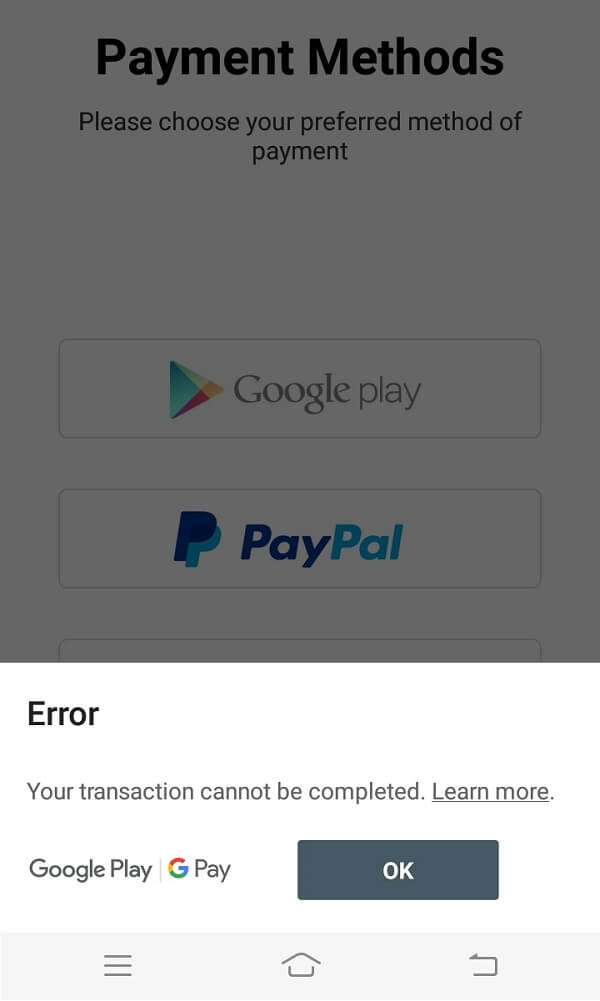 Fix Transaction cannot be completed in Google Play Store