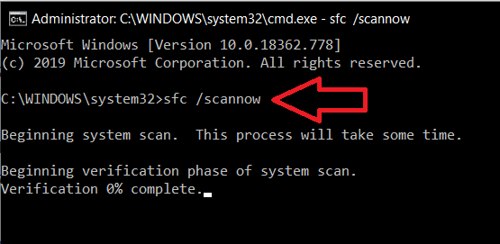 In the command prompt window, type sfc scannow, and press enter