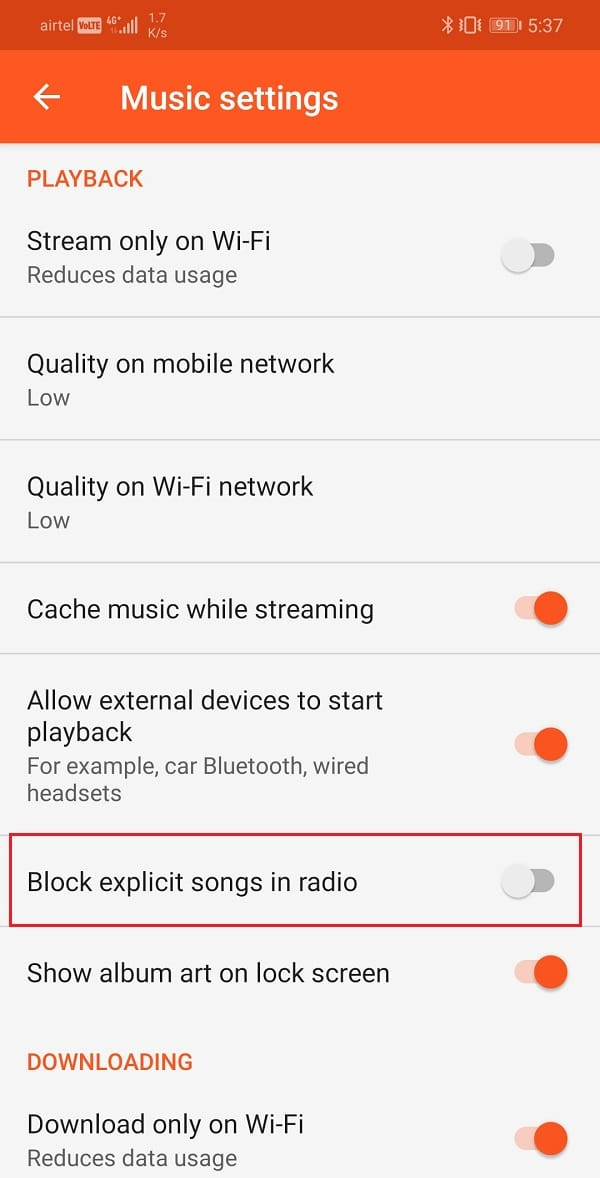 Make sure that the option to block explicit songs on the radio is switched off