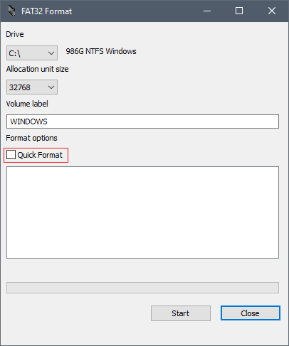 """Make sure the """"Quick Format"""" box below Format options is ticked"""