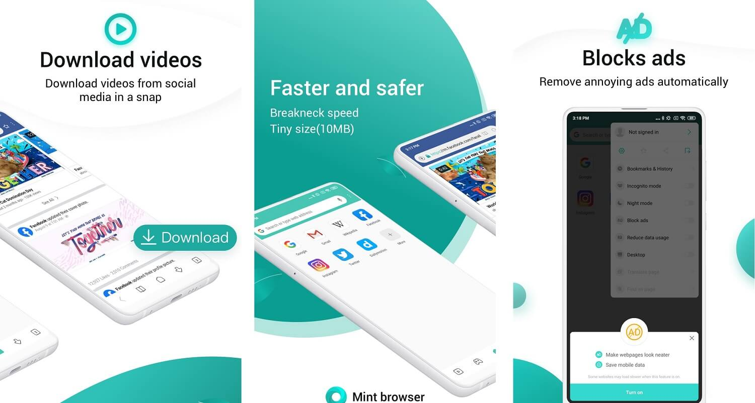 Mint Browser Video download, Fast, Light, Secure | Best Adblock Browsers for Android