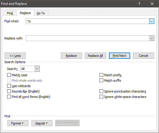 Once selected, '^p' will appear in the 'Find what' box   Remove Paragraph Symbol (¶) in Word