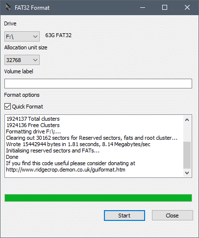 Once the confirmation is sent, the formatting process begins   Format an External Hard Drive to FAT32