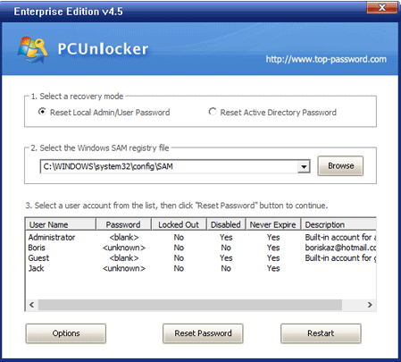 Once the system is booted, the PCUnlocker screen will be shown | Recover Windows 10 Forgotten Password using PCUnlocker